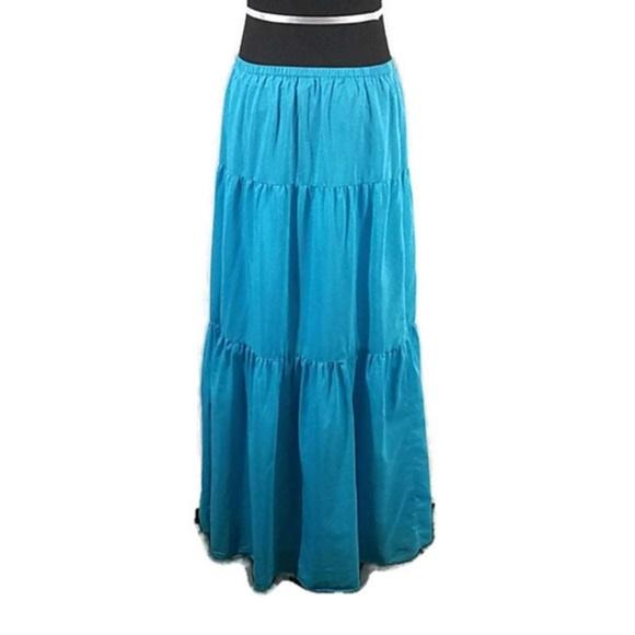 Talbots Dresses & Skirts - Talbots Blue Silk Blend Tiered Maxi Skirt
